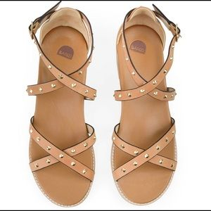 Bared Tan Studded Flat Sandals